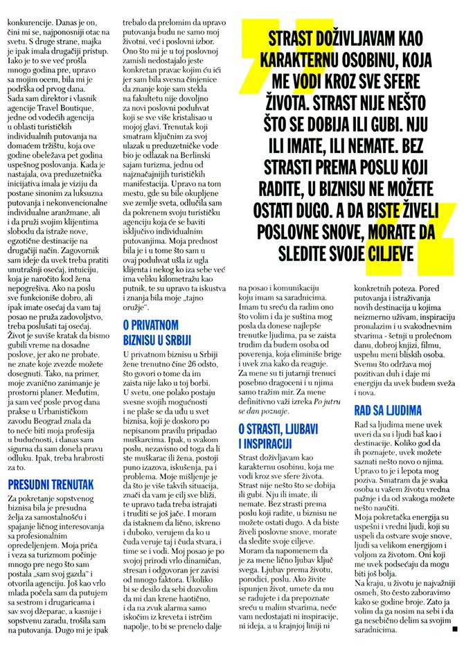 Ana Petrovic, Cosmopolitan intervju